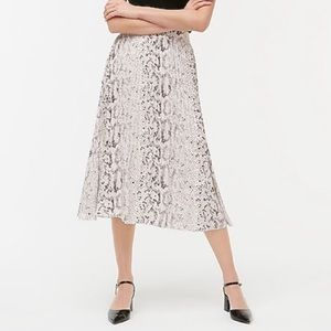 New J. Crew Snake Print Pleated Midi Skirt